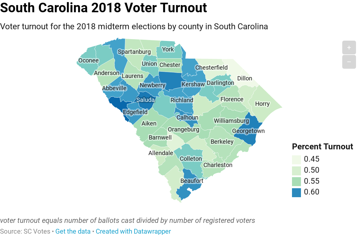 South Carolina 2018 Voter Turnout - River