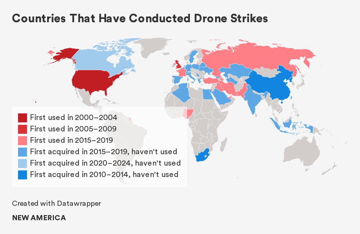 wereldkaart sinds wanneer landen drones gebruiken
